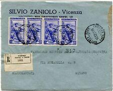1951 Italia al Lavoro RACCOMANDATA Negozio Silvio Zaniolo Vicenza FRAGD