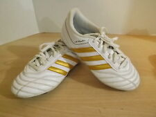 Childrens Size 4.5 USA Adidas Adi Questra White Gold Soccer Shoes Cleats