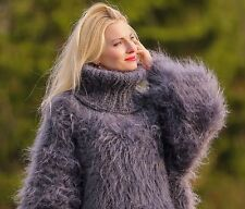 SUPERTANYA Gray Hand Knitted Mohair Sweater Dress Fuzzy Grey Turtleneckpullover