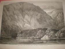 HMS Nassau enters Playa Parda Cove Strait of magellan 1869 old print