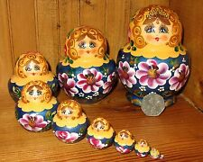 Russian Nesting Doll 10 Piece Yellow Blue Matryoshka  SIMAKOVA signed