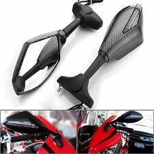 Motorcycle LED Carbon Fiber Turn Signals Integrated Indicator Rearview Mirrors