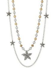 LUCKY BRAND Two-Tone Starfish Beaded Double Layer Necklace Silver & Gold NEW