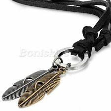 Men Vintage Fashion Angel Feather Pendant Adjustable Leather Rope Chain Necklace