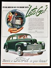1946 FORD Vintage Car Ad - Big New 100 H.P. V-8 Engine - 1940's Print Vehicle Ad