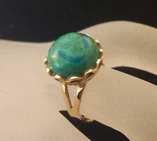 Vintage 18 k Solid Gold  Natural Turquoise Cabochon Round-shaped Lady's Ring