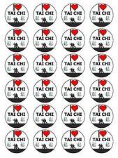 "X24 1.5"" I Love Tai Chi Arte Marcial Chino Cupcake Topper En Papel De Arroz Comestible"