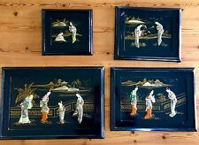 SET OF 4 ANTIQUE PANEL CHINESE FIGURES BLACK LACQUER PLAQUE ART PAINTING PANELS