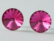 RIVOLI - GENUINE SWAROVSKI CRYSTAL Stud EARRINGS  12mm &  8mm 925 SILVER