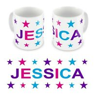 Personalised Printed Children's Kids Girls Stars Any Name Mug Cup Gift Boxed