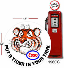 """12"""" 1960'S ESSO TIGER PUMP GASOLINE DECAL OIL CAN GAS PUMP LUBSTER"""