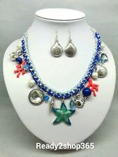 Starfish Coral Reef Sea Life Ocean Necklace Beach Nautical Silver Earrings Set