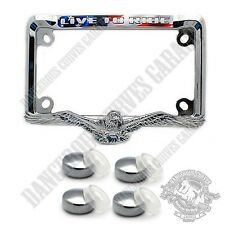"Show Chrome Metal 3D Eagle 4"" x 7"" Motorcycle License Plate Frame FREE CAPS"