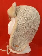 NWT TORY BURCH OATMEAL MELANGE CABLE KNIT TRAPPER GENUINE SHEARLING HAT $175