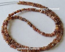 """20.04 ct Natural Red Color Rough Loose Diamond Beads 16"""" Strand .Silver Clasp"""