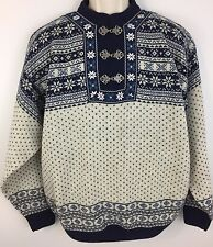 Mens Sweater CHRISTIANA OF NORWAY Blue white wool Nordic clasp pullover L