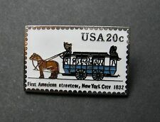 FIRST AMERICAN STREET CAR TROLLEY BUS USPS POST OFFICE MAIL STAMP 20c LAPEL PIN