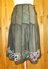 MONSOON black lime green purple pink floral midi knee gypsy boho skirt 10 38