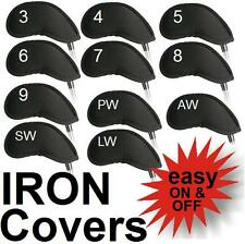 Set of 11 Black Neoprene Golf Club Head Covers Irons Wedges Protective Headcover
