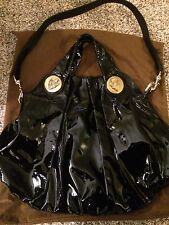 GUCCI Authentic Black Patent Leather Hysteria Hobo Shoulder Bag With Strap