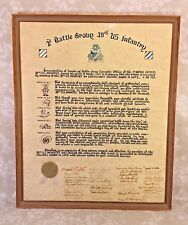 2nd Battle Group 38th US Infantry Service Recognition Certificate Signed
