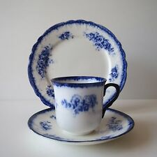 Shelley Trio, Flow Blue, Vincent, Tea Cup, Saucer, Plate, Scarce, Early, #SE604