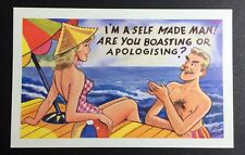 BOB WILKIN Comic POSTCARD 8011 Self Made Man SWIMSUIT Funny UNPOSTED P071