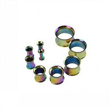 Pair Stainless Steel Double Flare Flesh Tunnel Ear Plugs Expander Stretcher Punk
