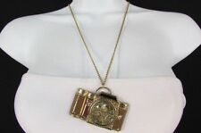"New Women Necklace Fashion 26"" Long Rusty Gold Chains Brown Old Style Camera"