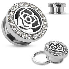 PAIR Gold or Steel Crystal Paved Rim with Rose Top Steel Screw Fit Tunnel Plugs