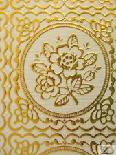 """FLORAL VINYL TABLE CLOTH - French Metallic Gold/Off White - 55""""  WIDTH"""