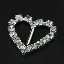 100% New 10pcs Heart Shape Rhinestone Decor Ribbon Wedding Party Buckles Sliders