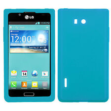 For LG Optimus Showtime L86c Rubber SILICONE Soft Gel Skin Case Phone Cover Teal