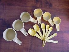 TUPPERWARE YELLOW MEASURING CUPS SPOONS FULL SETS WITH RING