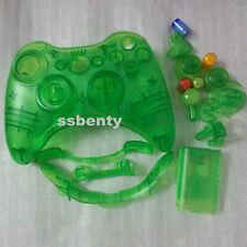 Xbox 360 Wireless Controller full Shell Case Clear Green Custom  repair mod kit