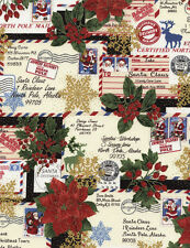 Fat quarter lettres au père noël 100% coton quilting tissu-timeless treasures