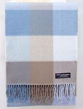 100% CASHMERE Scarf Blue Brown Check Plaid Tartan Soft SCOTLAND Wool Women D434