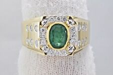 Men's 1.43 ct Emerald & Diamond Natural Gemstone Cocktail Ring in 18k Solid Gold