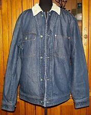 Woolrich Mens Fleece Wool Lined Corduroy Indigo Blue Denim Jean Jacket Coat L