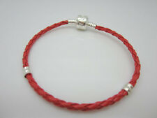 4pcs Red Braided Leather Charm Bracelets Threaded for Beads Weave Wristband 20cm