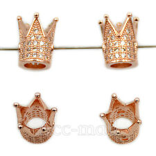 Zircon Micro Pave Crown 10x12mm Connector Charm Spacer Beads Bracelet Gemstone