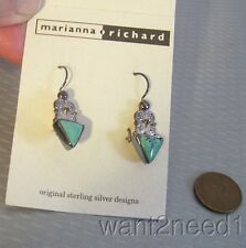 925 SAJEN TURQUOISE DROP EARRINGS Marianna & Richard Indonesia sterling new