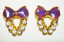 Purple Bow Enamel Effect Stud Earrings Gold Tone 10 x 15mm