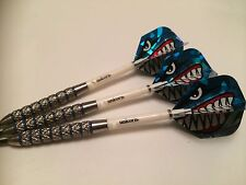 26g BLUE RING Tungsten Darts Set, UNICORN GRIPPER STEMS, ANGRY SHARK FLIGHTS