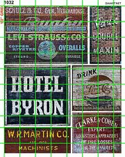 1032 DAVE'S DECALS HOTEL MACHINIST SODA POP OLD BUILDING CLOTHING GHOST SIGN SET