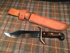 Western W49 c Bowie Knife Vintage Wood Grip BIG Fixed Blade Leather Sheath Wow
