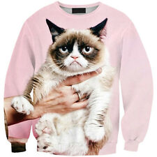 Fashion Womens Cat Print Long Sleeve Sweater Sweatshirt Pullover Tops Tracksuit