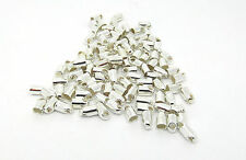 100 Cord Ends Necklace Tips 7mm x 4mm (Fits 3mm Cord) Silver Plated J03819