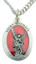 Saint Michael Medal Red Enamel on Metal Italian Pendant 3/4 Inch with Chain
