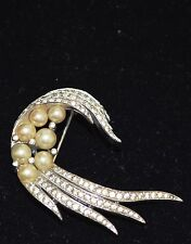 PANETTA Vintage Museum Quality RARE PEARL Rhine Crystal Brooch PIN Antique